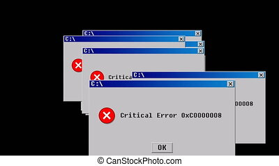 Critical error. Old interface design. 3D rendering