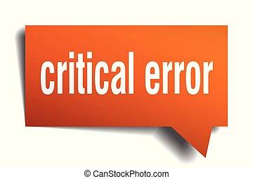 critical error orange 3d speech bubble