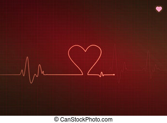 Critical Heart Condition - Heart-shaped blip on a medical...