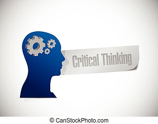 critical thinking mind illustration design over a white ...