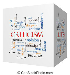 Criticism 3D cube Word Cloud Concept with great terms such...