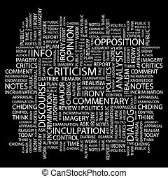 CRITICISM. Background concept wordcloud illustration. Print concept word cloud. Graphic collage.
