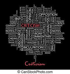 CRITICISM. Background concept wordcloud illustration. Print ...