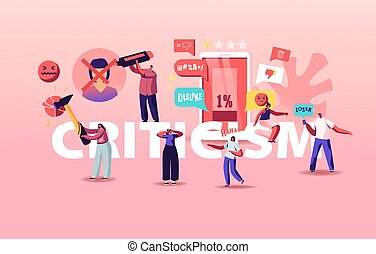 Criticism Concept. Angry People Blaming and Criticize Characters in Internet, Put Dislike in Account Profile, Write Negative Feedback, Haters Activity Poster Banner Flyer. Cartoon Vector Illustration