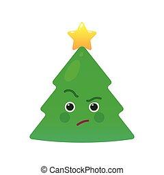 critico, albero natale, isolato, emoticon