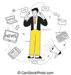 critico, design., notizie, grafico, vettore, filtro, pensare, appartamento, infographic.