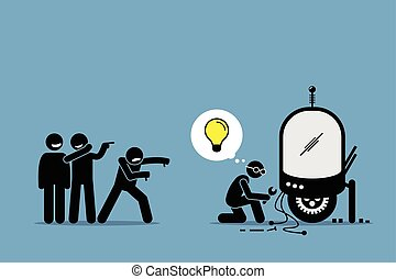 Critics Mocking and Making Fun of an Inventor from Creating and Inventing New Idea and Extraordinary Technology.