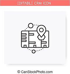 crm, abbildung, icon., räumlichkeiten, linie, editable