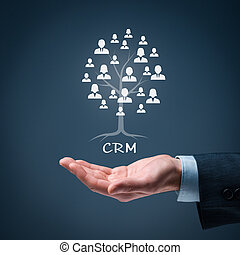 CRM and customers concept. CRM is a root of a tree in...