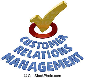 CRM check Customer Relations Management - Check mark in...