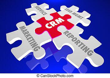 crm, cliente, relazione, amministrazione, confondere pezzi, parole, 3d, render, illustrazione