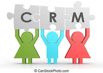 crm, -, cliente, relazione, amministrazione, puzzle, linea