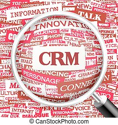 CRM. Concept illustration. Graphic tag collection. Wordcloud...