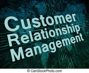 CRM Concept - Marketing concept: words Customer Relationship...
