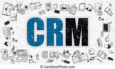 CRM Concept with Doodle Design Icons.