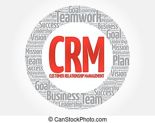 CRM - Customer Relationship Management circle word cloud,...