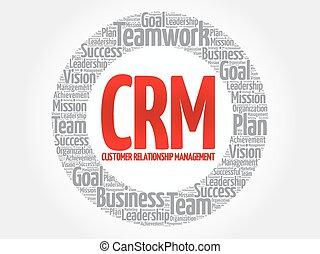 CRM - Customer Relationship Management circle word cloud,...