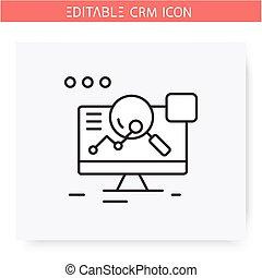 crm, icon., 線, editable, 分析的