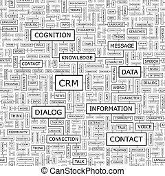 CRM. Seamless pattern. Word cloud illustration.