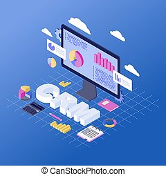 CRM software isometric vector illustration. Client data analytics and storage. Customer relationship management service, platform. Business automation. Sales, marketing statistics analyzing 3d concept