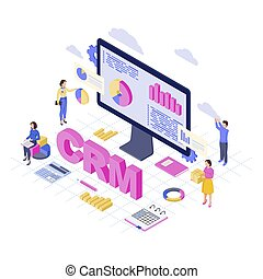 CRM software, platform isometric vector illustration. Client data analytics and storage. Customer relationship management service 3d concept. Business automation Sales, marketing statistics analysts
