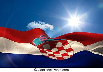 croacia, bandera nacional, debajo, soleado, cielo