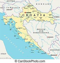 croacia, político, mapa