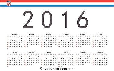 croata, 2016, calendario, vector, año