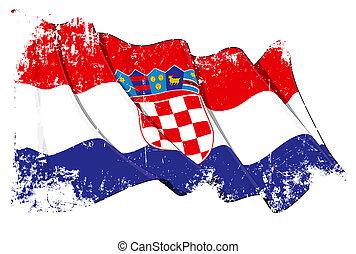 croata, bandeira, grunge