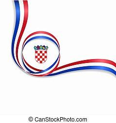 croata, ondulado, bandeira, experiência., vetorial, illustration.