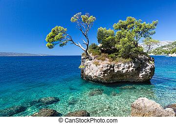 croata, praia, em, um, dia ensolarado, brela, croácia