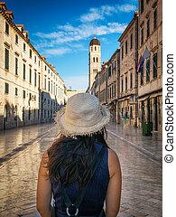 croatia, 旅行者, stradun, dubrovnik, 通り