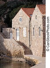 croatia, 港, 古い, dubrovnik, kolorina, 家