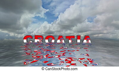 Croatia 3d text floating on water vacation concept