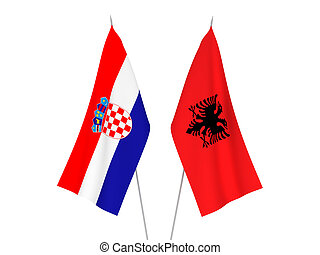 Croatia and Albania flags - National fabric flags of Croatia...