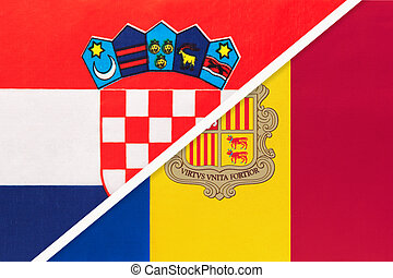 Croatia and Andorra, symbol of country. Croatian vs Andorran national flags.
