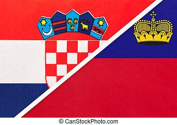 Croatia and Liechtenstein, symbol of country. Croatian vs Liechtensteiner national flags.