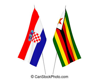 Croatia and Zimbabwe flags - National fabric flags of ...