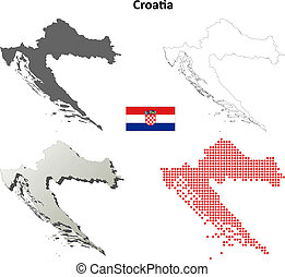 Croatia blank outline map set - High detailed isolated blank...