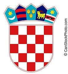 Croatia coat of arms, seal or national emblem, isolated on white background.