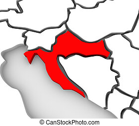Croatia Country Abstract 3D Map Eastern Europe