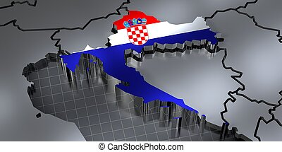 Croatia - country borders and flag - 3D illustration