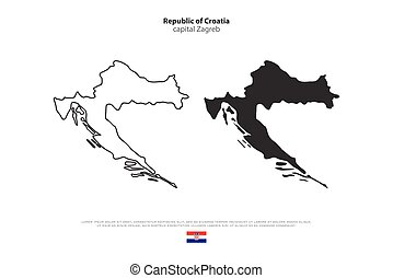 croatia - Republic of Croatia isolated map and official flag...