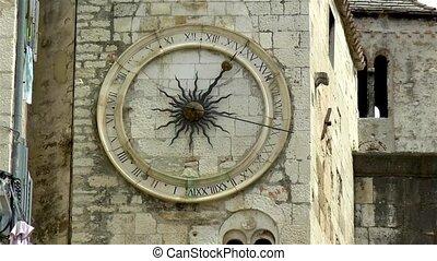 croatia., fente, tour horloge, sous, historique, cloche