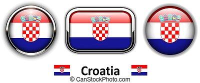 Croatia flag buttons - Croatia flag buttons, 3d shiny vector...