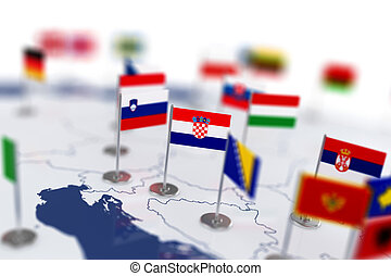 Croatia flag in the focus. Europe map with countries flags