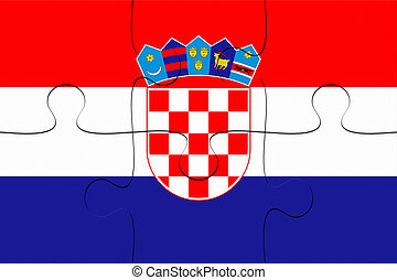 Croatia Flag Jigsaw Puzzle, 3d illustration