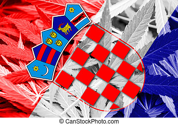 Croatia Flag on cannabis background. Drug policy....
