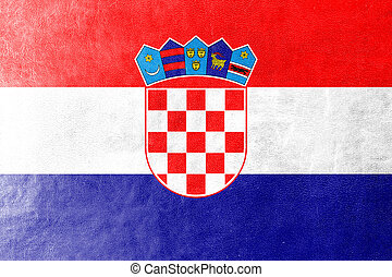 Croatia Flag painted on leather texture
