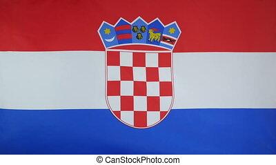 Croatia Flag real fabric Close up